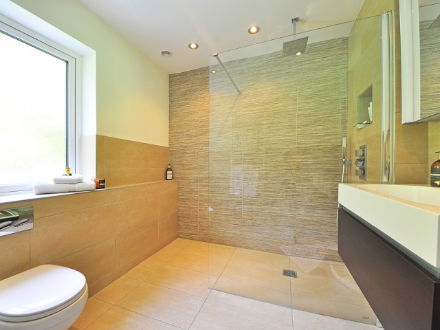 Moderrn tiled bathroom fitted in London