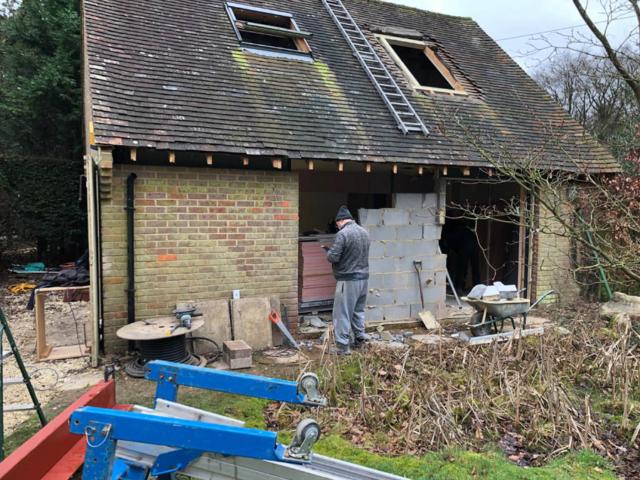 Garage renovation underway