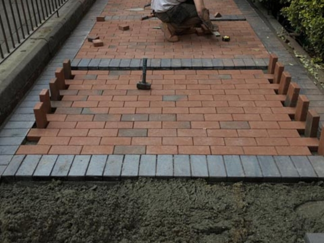 Block paving being laid