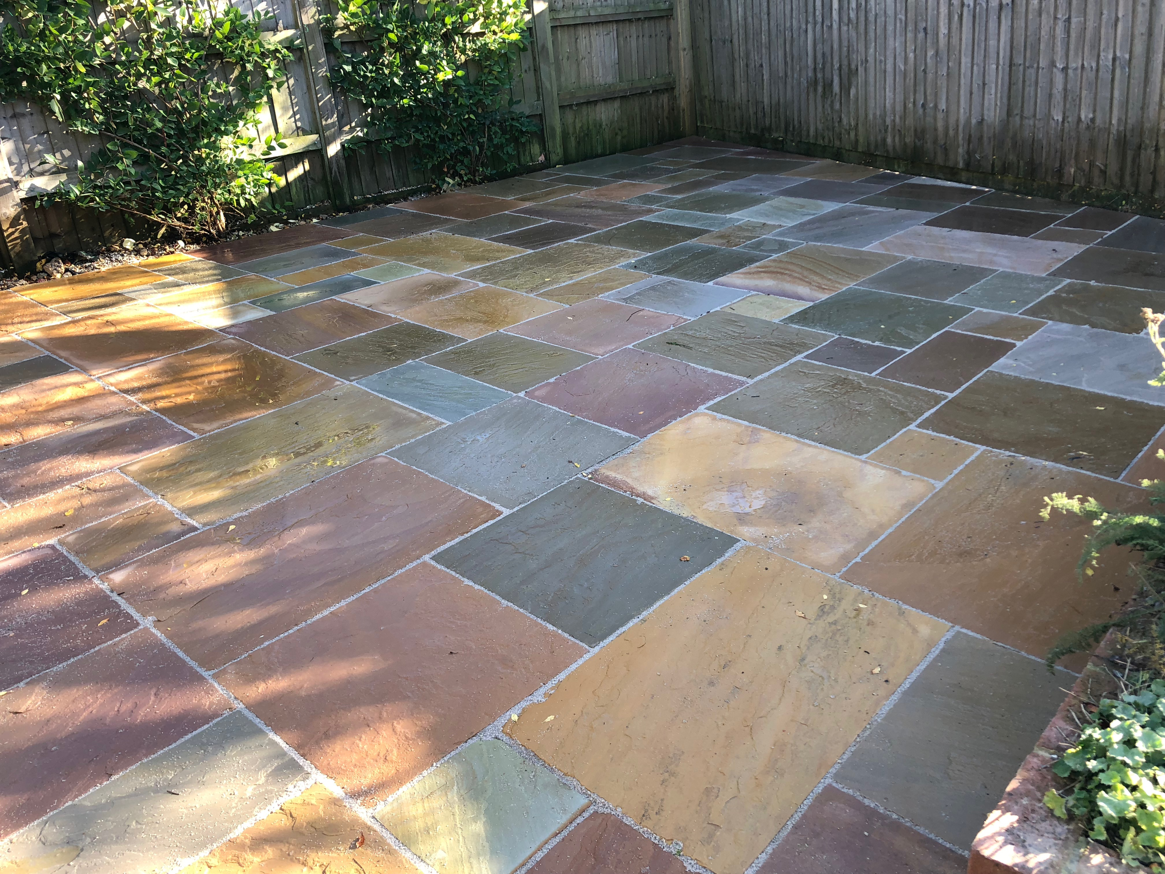 Paved patio in rear garden in London