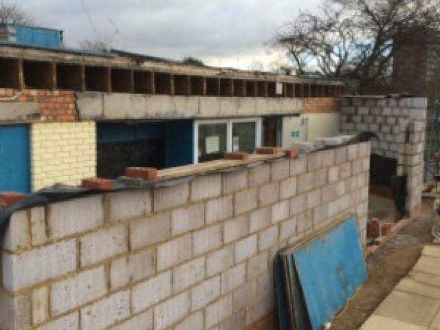 Wall construction in progress