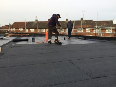 Roofing felt installed in London building project