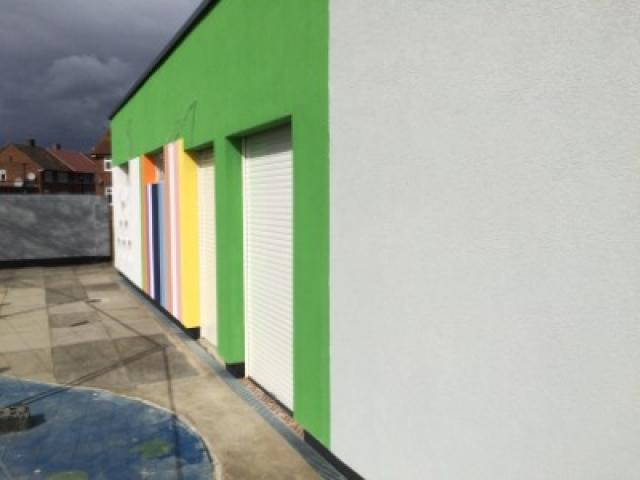 Double shutter doors in modern building