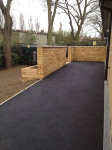 Tarmac after being laid in London project