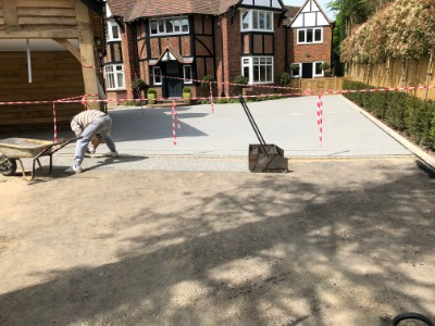 Driveway installation in progress in Buckinghamshire