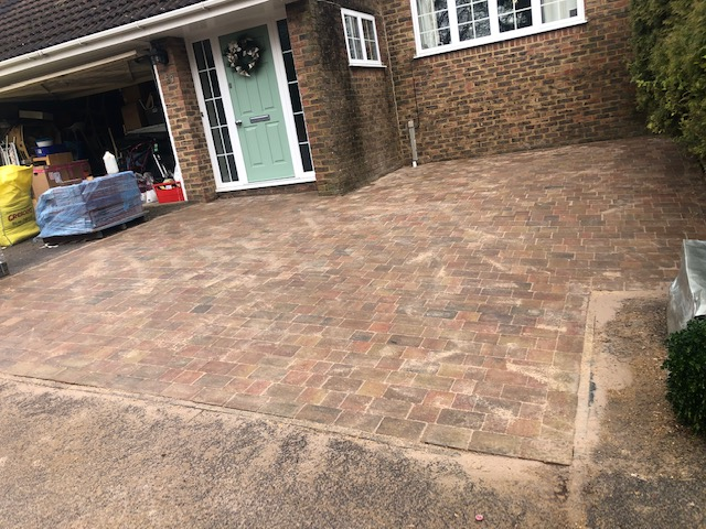 New driveway completed ready to clean up